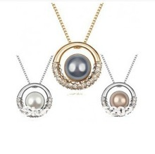 Korean pearl crystal necklace for women Europe fashion short Over drilling necklaces jewelry wholesale LM_N051 FREE SHIPPING