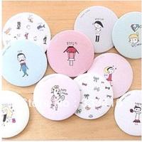 FREE SHIPPING!  Korean LIVEWORK sweet cute mini round mirror cartoon make up mirror 6.5cm mirror 10pcs/lot