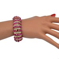 Cute Pink Girls Lucky Crystal Rhinestone Stretch Bracelet Bangle
