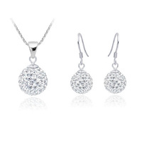 925 Silver Round Trendy Costume Jewelry Set For Women Good Quality Rhinestone Free Shipping