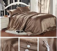 FEDEX Free shipping Europe Luxurious Solid Dark Grey 100% Silk  4PCS Bedding set