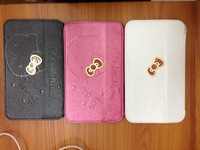 "New arrival Hello Kitty bracket Holster protective sleeve For Samsung p3200 Galaxy Tab 3 7 ""  Free Shipping+Retail box"