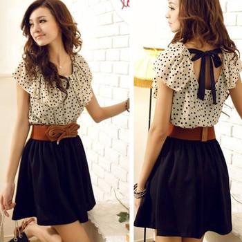 IMIXBOX With Belt! Korean Women Summer Chiffon Dress Short-sleeve Dots Polka Waist Mini Beige+Black Free Shipping W3132