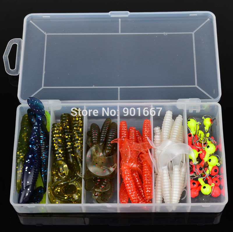 Hot Sell! 70pcs/set plastic fishing lures set with box Soft Lure sleeve Lure or Soft bait Jig Big Hook Free Ship(Hong Kong)