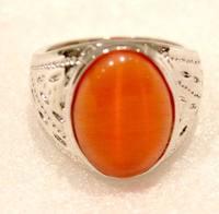 Silver plated Ring Orange Zircon Gems Rings Fashion Korea jewelry for women Size7-9