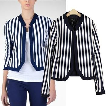 2013 Newly Women's Autumn **** Brand stripe vertical Slim  short Blazer Jacket Coat Free Shipping #WT008