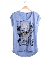 Free shipping brand new arrival skull t shirt with diamond 100%cotton t shirt tops for women high quality fish001