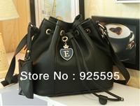 Free shipping 2013 new arrival casual fashion pu bucket message bag,women handbag,5 colors