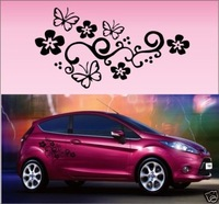 2x Butterfly Flower Vinyl Car Graphics,Stickers,Decals U006
