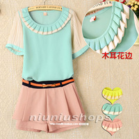 M 2013 women's o-neck pullover short-sleeve slim pleated ruffle chiffon shirt top