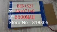 Good Quality 3.7V 6500mAH Li-ion( Polymer lithiumion) battery for 9.7,10. inch tablet PC,Onda,Sanei 3.6*107*140mm