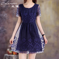 2013 short-sleeve mulberry silk skirt organza silk one-piece dress fy13101