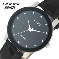 Fashion Black Leather Strap SINOBI Top Brand Quartz Analog Watch Men & Women Wrist Watch