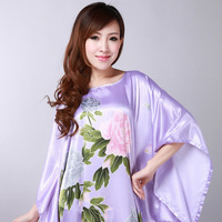 2013 Chinese Traditional Style Dress Purple Women's Sexy Silk Summer Nighties Ladies Jumpsuit Sleeping Gowns#S0111 Free shipping