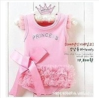 Retail cute&fashion Baby romper Girl's Wear The lovely princess pink bow lace Romper baby clothes