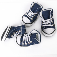 Free Shipping Pet Dog Shoes Boots Sneakers Denim Blue - Size 5