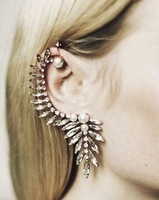 Min Order $15(Can Mix Item)Gorgeous Pearl Crystal Ear Cuff Earrings Stud Earrings Punk Emo Goth Celebs