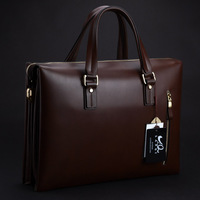 Male fashion business bag briefcase handbag laptop bag first layer of cowhide