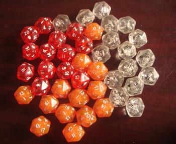 freeshipping 50PCS 20 dice 20 bosons transparent table gift dice tape bubble  IVU