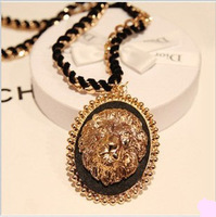 2013 Fashion jewelry,Gold plated animal choker necklace for women,Lion head pendant necklaces,Sweater necklace N153
