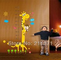 [DongFan]  Yellow Deer height chart wall decals kids nursery Room vinyl wall stickers murals Free shipping