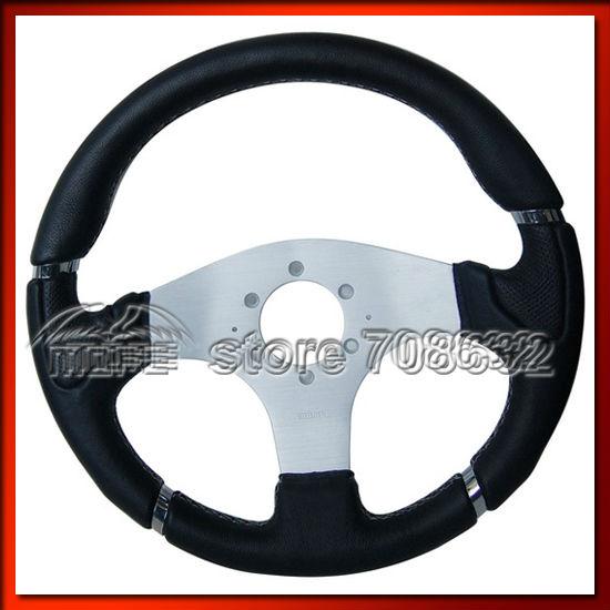 Diameter: 340mm Punching & Grain Leather White Stitch Racing Car MOMO Millenium Steering Wheel(China (Mainland))