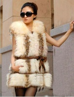 New Arrive Warm In Winter Genuine Raccoon Dog Fur Vest Gilet Womens Outwear Free shipping