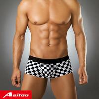 4 male panties trunk modal comfortable plaid print panties summer