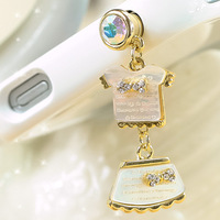 Dust plug rhinestone shell small set  for apple   earphones  for SAMSUNG   plug mobile phone chain