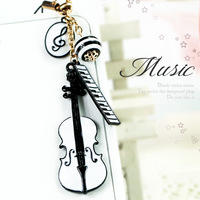 Mobile phone dust plug black and white violin mobile phone chain  for iphone   4s  for SAMSUNG   plug earphones