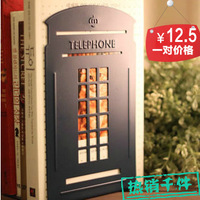 Free shipping Telephone booth metal bookend desktop finishing rack 2