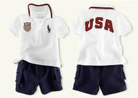 Polo boys suit/2-piece set: short-sleeved shirt+ short pants/USA letter sports suit