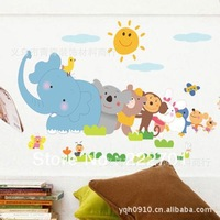 Over 10usd Free shipping(mixed order) children's bedroom wall stickers PVC stickers glass stickers repeatedly elephant