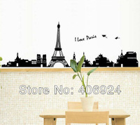 Hot Sale Removable Vinyl Wall Decor Paris Wall Stickers Living Room Wall Art  50x70cm Mix Order Free Shipping