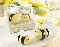 "New arrival 20sets /lot ""Mommy and Me...Sweet as Can Bee"" Ceramic Honeybee Salt & Pepper Shakers"