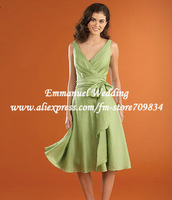 Ruching Taffeta Straps Knee Length Lime Green Bridesmaid Dress with Sash Bow EB575