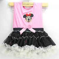 New design,Fashion girl princess's dress,popular pink + good mesh material,2T,3T,4T,kid's fashion clothing