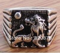 Wholesale handmade Tibet tibetan miao silver hand carved Men `s Lion Solar Rings fashion jewelry # 003 2PC/LOT Fashion jewelry
