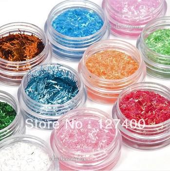 New Fashion 12Pcs/set 12 Colors Striping Nail Glitter Powder Colorful Nail Art Powder Decoration free shipping