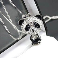 Min Order For 15 Dollars (Mixed Order) Free Shipping! 2013 gifts Fashion Korea cute panda necklace Wholesale !Top Quality!!