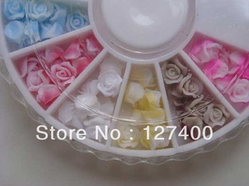12 Colors 120pcs Turntable Soft Plastic Rose Flowers 3D Nail Sticker Nail Decoration Acrylic Tips free shipping