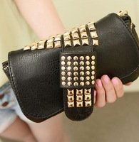 New arrivals 2013 women fashion colorful punk rivet clutch bag ladies messenger bag double layer small bags free shipping WB2137