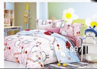 Hot Beautiful 100% Cotton 4pc Doona Duvet QUILT Cover Set bedding set Happy Rabbit -free shipping