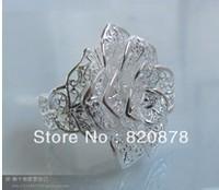 Wholesale handmade Tibet tibetan miao silver hand carved Men `s White Rose Rings fashion jewelry # 005