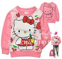 girls fashion style t-shirt Children long sleeve tee Baby cartoon t shirt kids cotton clothing girls Hello Kitty T-shirt6pcs/lot