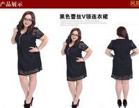 Free shipping Retail 4XL Women's Long / Short Sleeve Lace Dresses Plus size zipper V-neck slim Lady Dress  Black XL-4XL