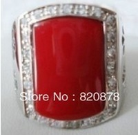 Exquisite red coral silver men's ring size:8-11# fashion jewelry