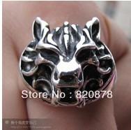 Wholesale handmade Tibet tibetan miao silver hand carved Men `s wolf head Rings fashion jewelry 2PC/LOT #004