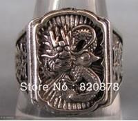 Wholesale handmade Tibet tibetan miao silver hand carved Men `s White Dragon Rings fashion jewelry 2PC/LOT #006