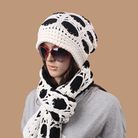 Autumn and winter yarn knitted hat winter thermal yarn scarf muffler hat scarf 2 piece set